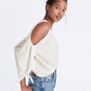 Madewell Cold Shoulder Top in White Wash